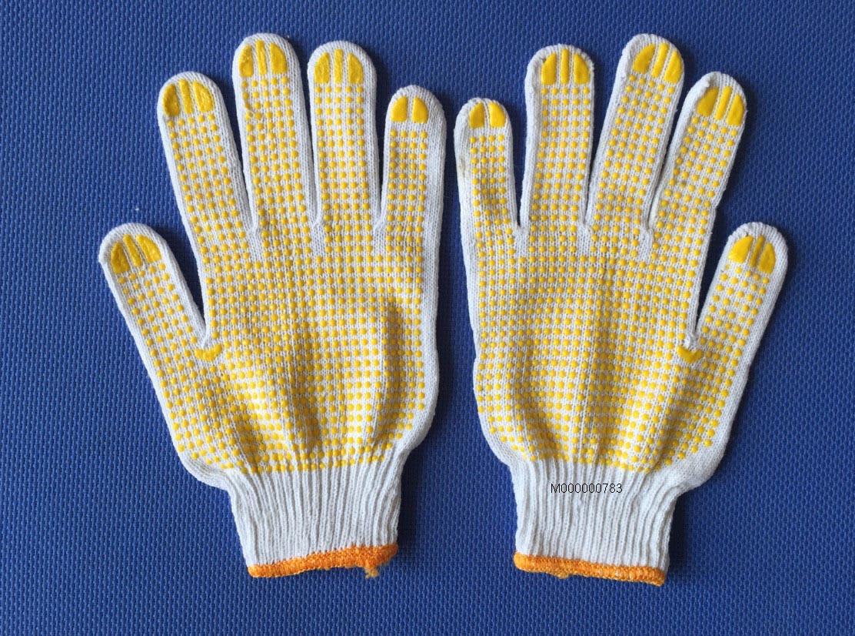 Găng tay len phủ hạt nhựa vàng