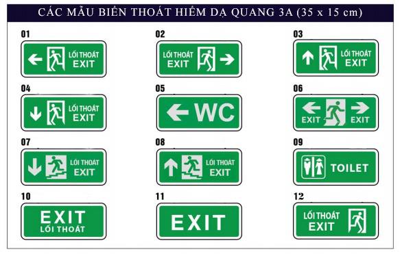 Biển thoát hiểm - Biển chỉ dẫn - Biển exit dạ quang